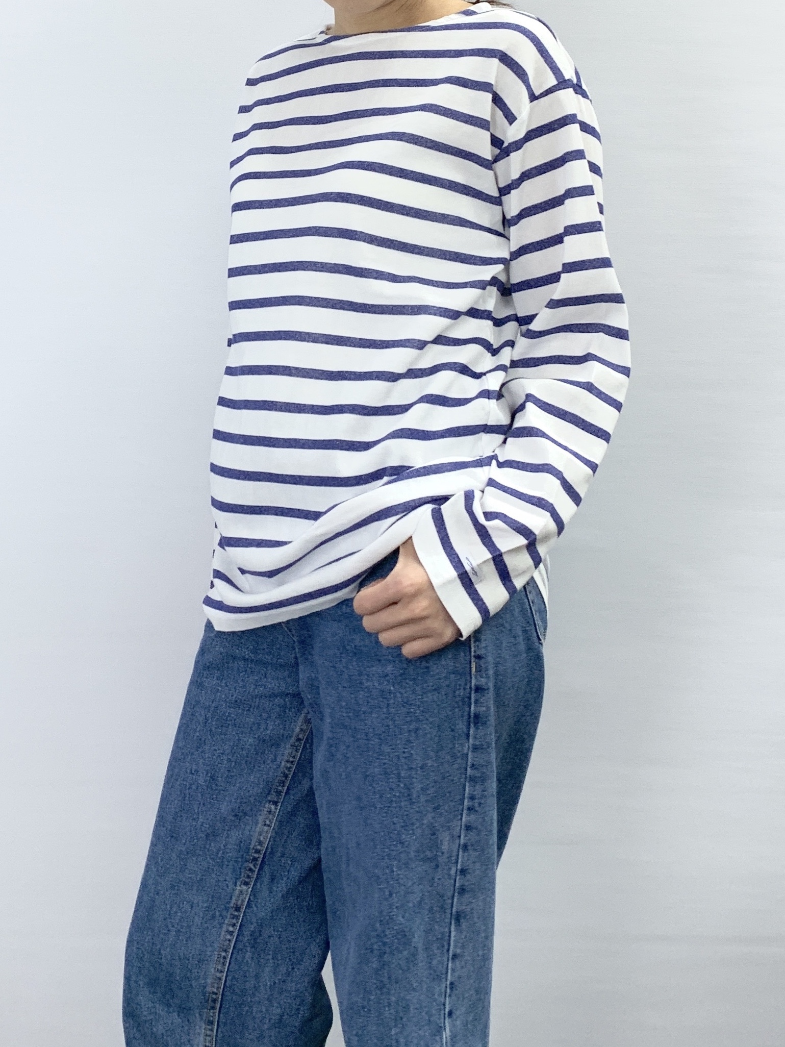 BOAT NECK BORDER LONG SLEEVE T-SHIRT