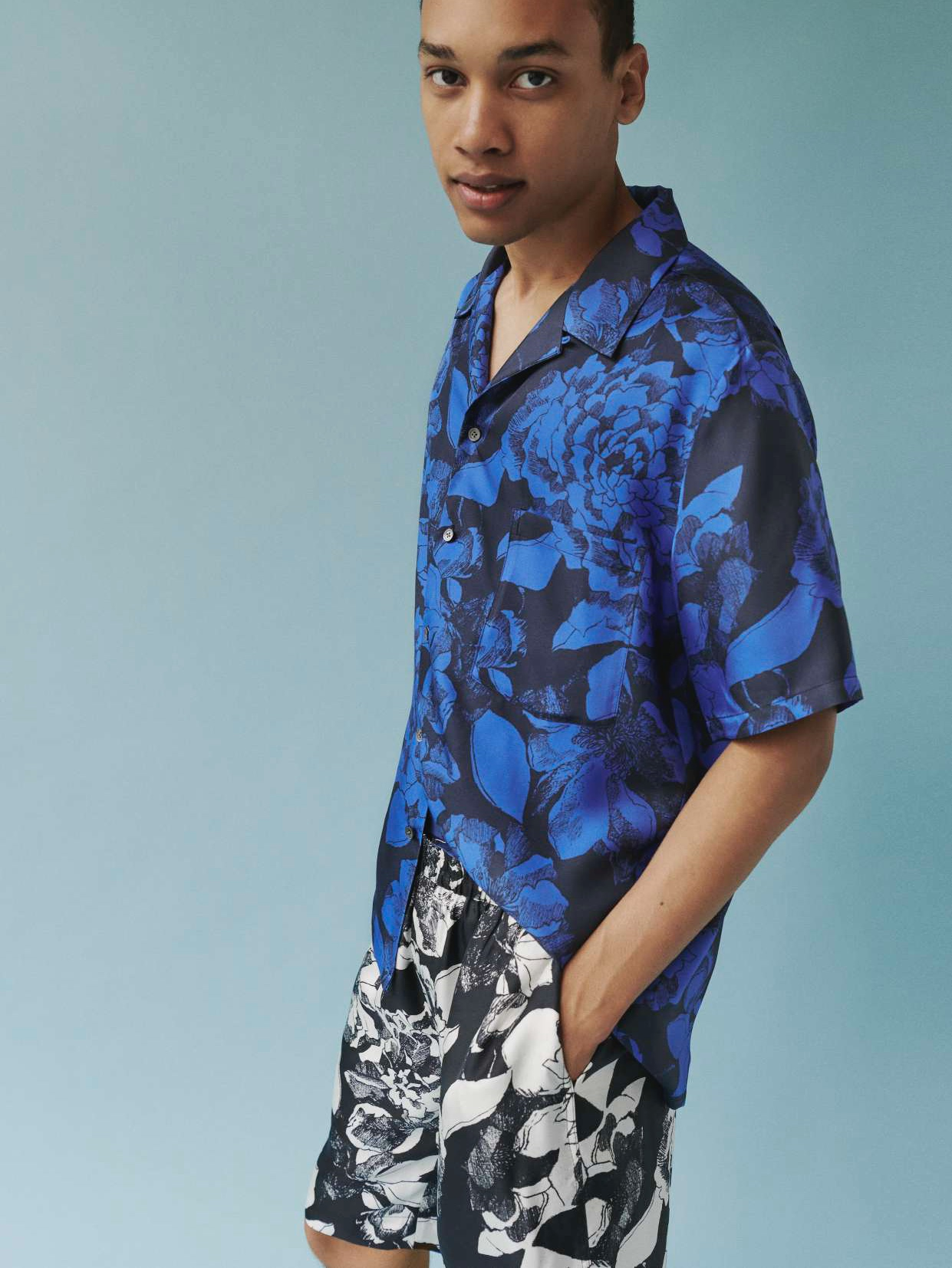 HAWAIIAN SHIRT:Youth Bloom Blue