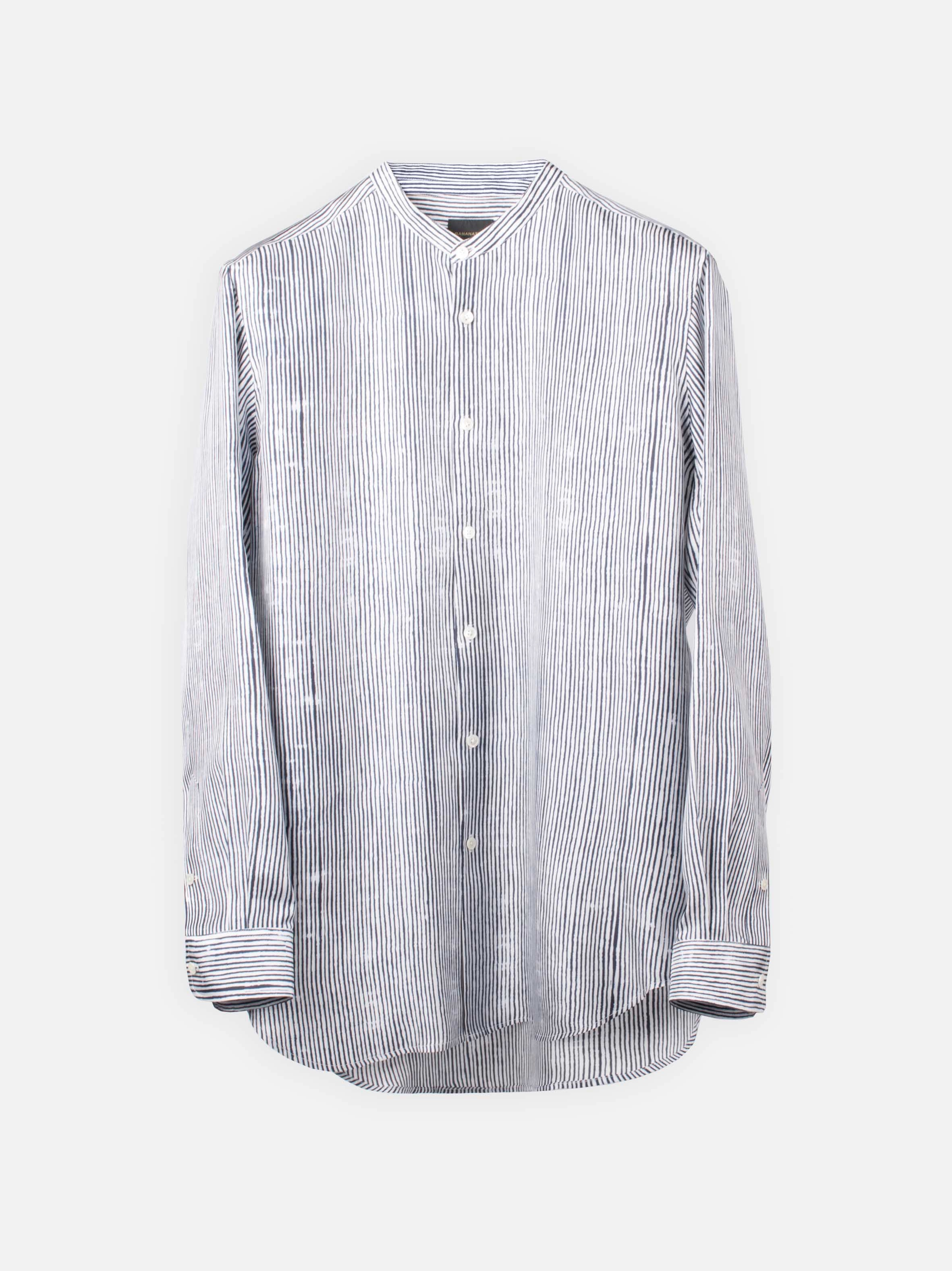 SLIM GRANDAD SHIRT:Bamboo Stripes White4