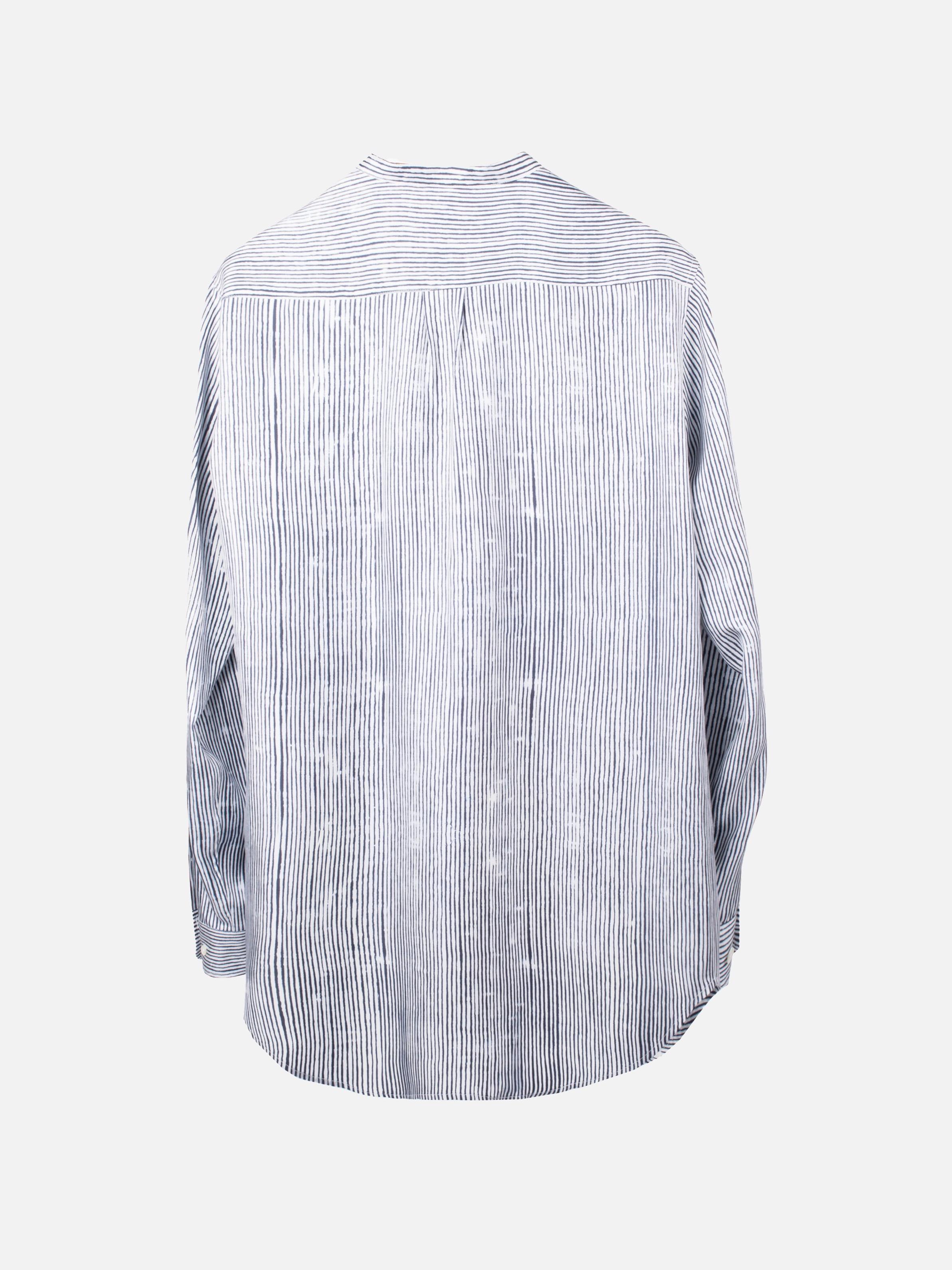SLIM GRANDAD SHIRT:Bamboo Stripes White5