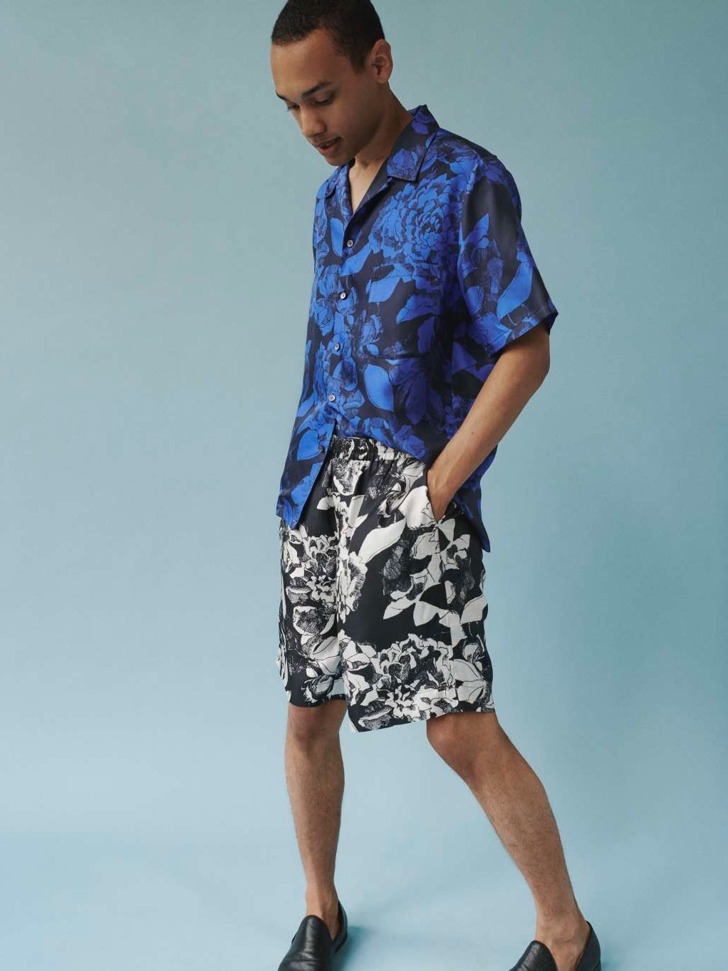 HAWAIIAN SHIRT:Youth Bloom Blue2