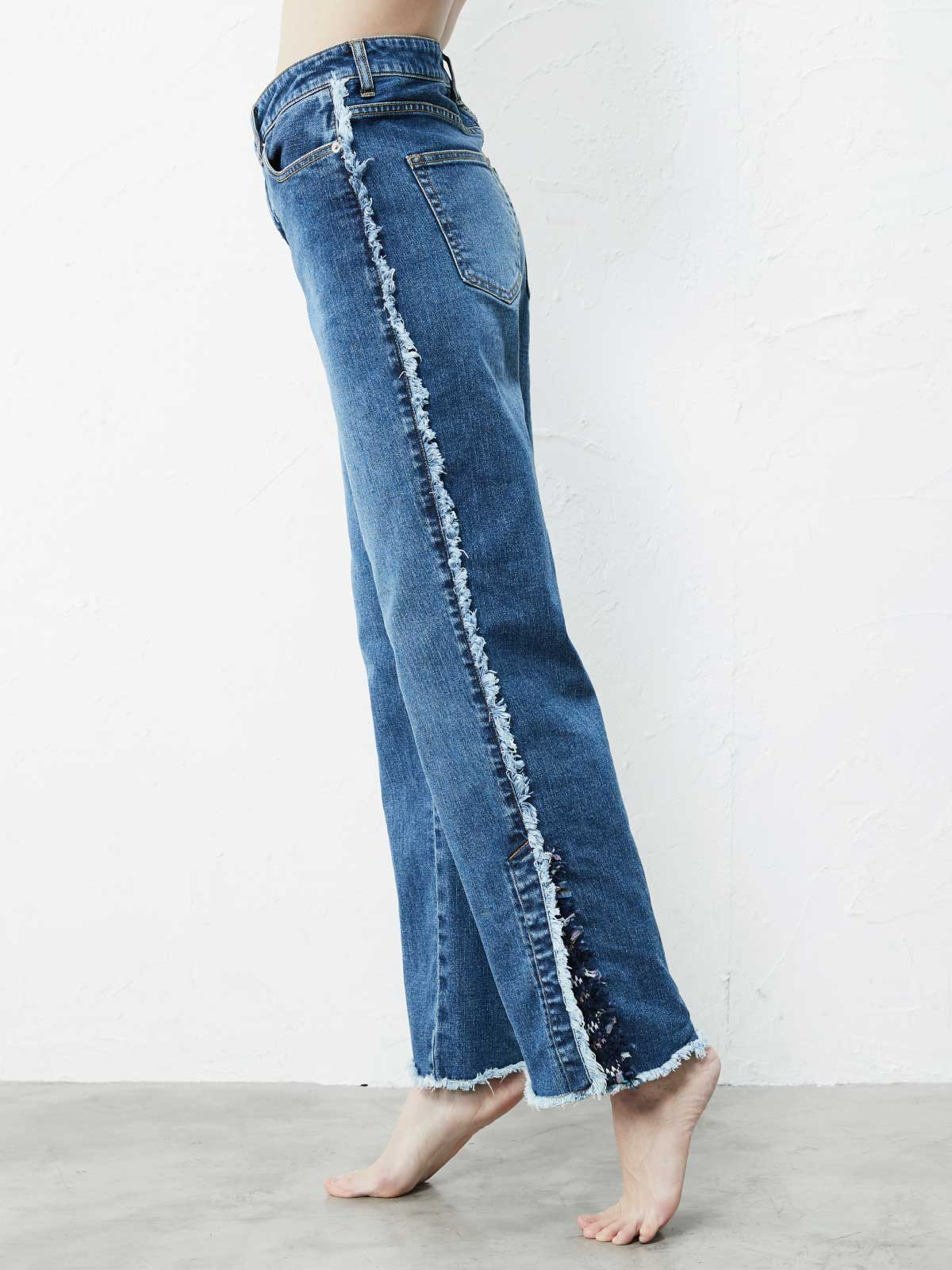 TWEED FRINGE SLIT PANTS1